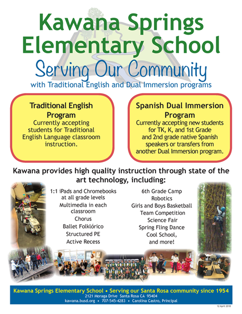Kawana Springs Elementary School serving our community with traditional english and dual immersion programs.